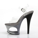 Silber glitter 18 cm Pleaser MOON-708OMBRE pole dance high heels schuhe