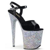 Silber glitter 20 cm Pleaser FLAMINGO-809LG pole dance high heels schuhe