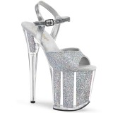 Silber glitter 20 cm Pleaser FLAMINGO-810G pole dance high heels schuhe