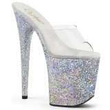 Silber glitter plateau 20 cm FLAMINGO-801LG pleaser high heel mules