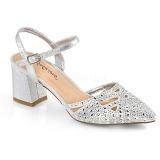 Silber glitzern 7 cm Fabulicious FAYE-06 Sandaletten mit high heels