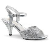 Silber glitzern 8 cm Fabulicious BELLE-309G Sandaletten mit high heels