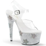 Silber strasssteine 18 cm ADORE-708STAR pole dance high heels schuhe