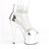 Silberne high heels 18 cm ADORE-765RM glitter plateau high heels