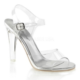 Silver 11,5 cm CLEARLY-408 High Heeled Evening Sandals