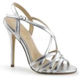 Silver 13 cm Pleaser AMUSE-13 high heeled sandals