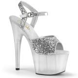 Silver 18 cm ADORE-710GT glitter platform high heels shoes