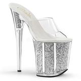 Silver 20 cm FLAMINGO-801G glitter platform mules womens