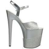 Silver Glitter 20 cm Pleaser FLAMINGO-809-2G High Heels Platform