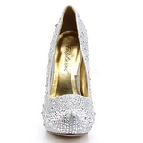 Silver Glittering Stones 13,5 cm FELICITY-20 Womens High Heels Shoes