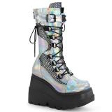 Silver Hologram 11,5 cm SHAKER-70 cyberpunk platform boots