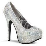 Silver Rhinestone 14,5 cm Burlesque TEEZE-06R Platform Pumps Women Shoes