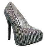 Silver Rhinestone 14,5 cm Burlesque TEEZE-06RW mens pumps for wide feets