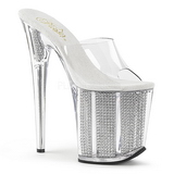 Silver Rhinestone 20 cm FLAMINGO-801SRS womens mules shoes