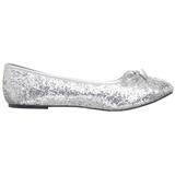 Silver STAR-16G glitter flat ballerinas womens shoes