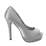 Silver Satin 13,5 cm BELLA-12R Rhinestone Platform Pumps Shoes