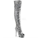 Silver Sequins 15 cm PLEASER BLONDIE-R-3011 Platform Over Knee Boots