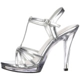 Silver Shiny 12 cm FLAIR-420 Womens High Heel Sandals