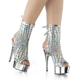 Silver Shiny 15 cm DELIGHT-1018HG womens platform soled ankle boots