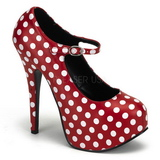 TEEZE-08 Rote Damenpumps mit Weisse Punkten 14,5 cm Heel