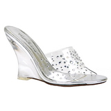 Transparent 10,5 cm LOVELY-401RS Wedge Mules mit Keilabsatz