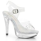 Transparent 13 cm COCKTAIL-508SD plateau high heels mit strass steinen