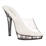 Transparent 13 cm Fabulicious LIP-101 Plateau Mules High Heels