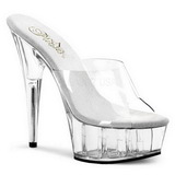 Transparent 15,5 cm Pleaser DELIGHT-601 Plateau Mules Schuhe