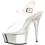 Transparent 15 cm Pleaser DELIGHT-608 Chrome Plateau High Heels