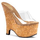 Transparent 16,5 cm Pleaser BEAU-601 Korken Plateau Wedge Mules
