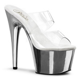 Transparent 18 cm ADORE-702 Chrome Platform Mules Shoes