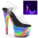 Transparent 18 cm ADORE-708GXY Neon plateau high heels