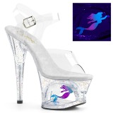 Transparent 18 cm MOON-708MER Neon plateau high heels