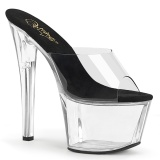 Transparent 18 cm PLEASER SKY-301-2 Platform Mules Shoes