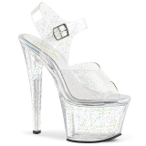 Transparent 18 cm Pleaser SKY-308MMG glitter high heels schuhe