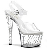 Transparent 18 cm Pleaser STARDUST-708 Plateau High Heels