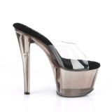 Transparent 18 cm SKY-301T Exotic stripper high heel mules