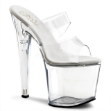 Transparent 19 cm TABOO-702 Platform Mules Shoes