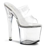 Transparent 19 cm TABOO-702 Platform Mules Shoes