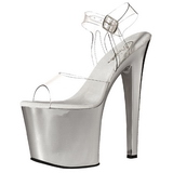 Transparent 19 cm TABOO-708 Chrome Plateau High Heel Schuhe