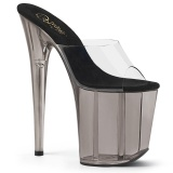 Transparent 20 cm FLAMINGO-801T Exotic stripper high heel mules