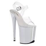 Transparent 20 cm FLAMINGO-808 Chrome Plateau High Heels