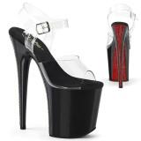 Transparent 20 cm FLAMINGO-808CRS-2 pleaser sandaletten mit roten strass sohlen