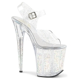 Transparent 20 cm Pleaser FLAMINGO-808MMG glitter high heels schuhe