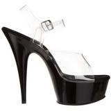 Transparent Black 15 cm Pleaser DELIGHT-608 High Heels Platform