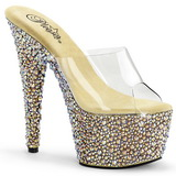 Transparent Gold 18 cm BEJEWELED-701MS Strass Plateau Mules