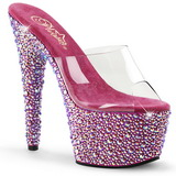 Transparent Pink 18 cm BEJEWELED-701MS Strass Plateau Mules