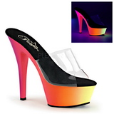 Transparent RAINBOW-201UV 15,5 cm Neon Plateau Mules Schuhe