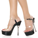 Transparent Schwarz 14 cm ALLURE-608 Platform High Heel Schuhe