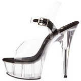Transparent Schwarz 15 cm Pleaser DELIGHT-608 Plateau High Heels
